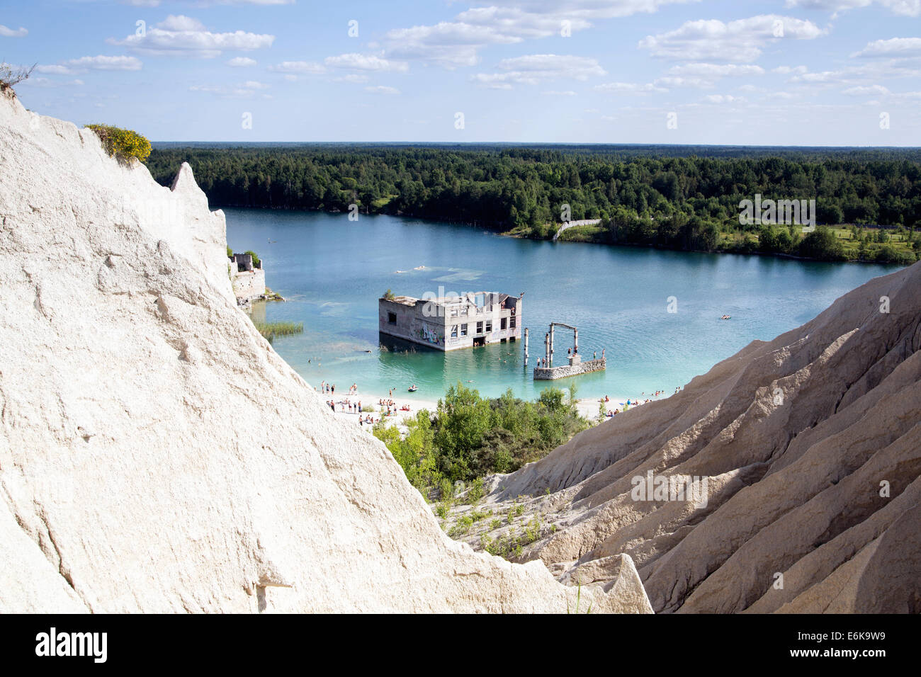 Abandoned open cast sand mine as swimming place - Stock Image