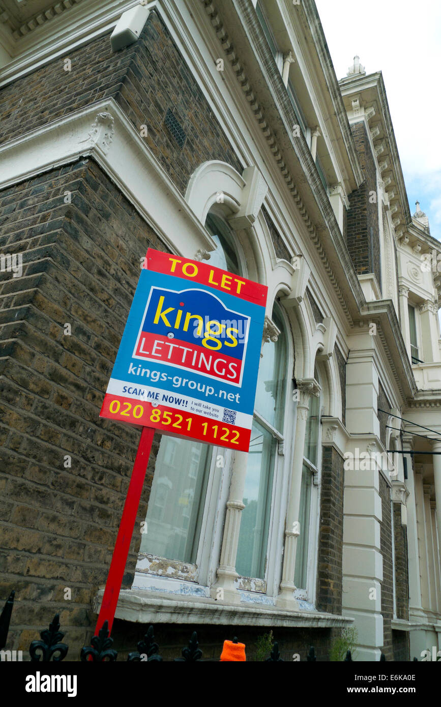 Kings Lettings Property To Let sign outside house on Orford Road in Walthamstow Village, Walthamstow London UK  - Stock Image