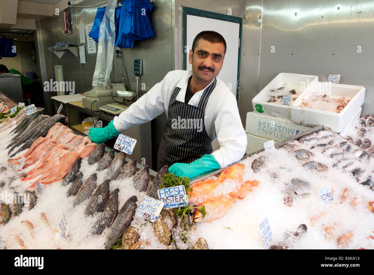 Fishmonger and fish display on ice in n a fish shop for Fishing gear store