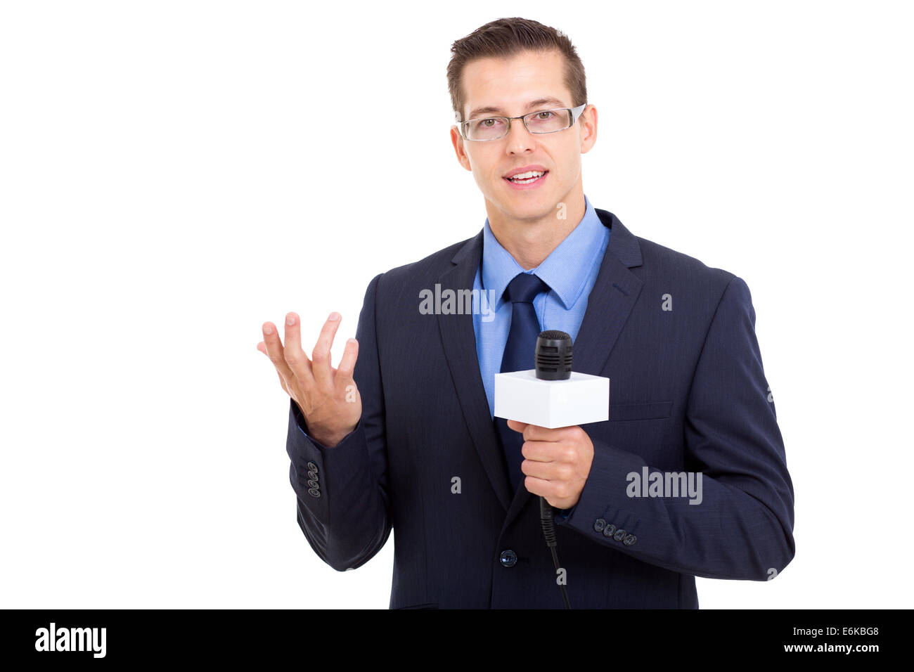 professional news reporter in live broadcasting - Stock Image