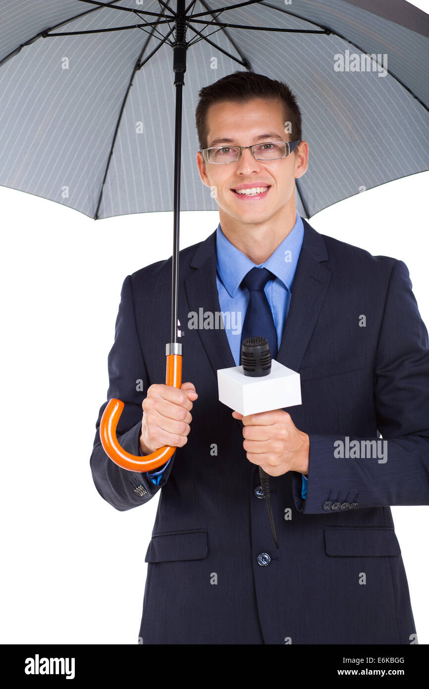 weather news reporter with umbrella isolated on white background - Stock Image