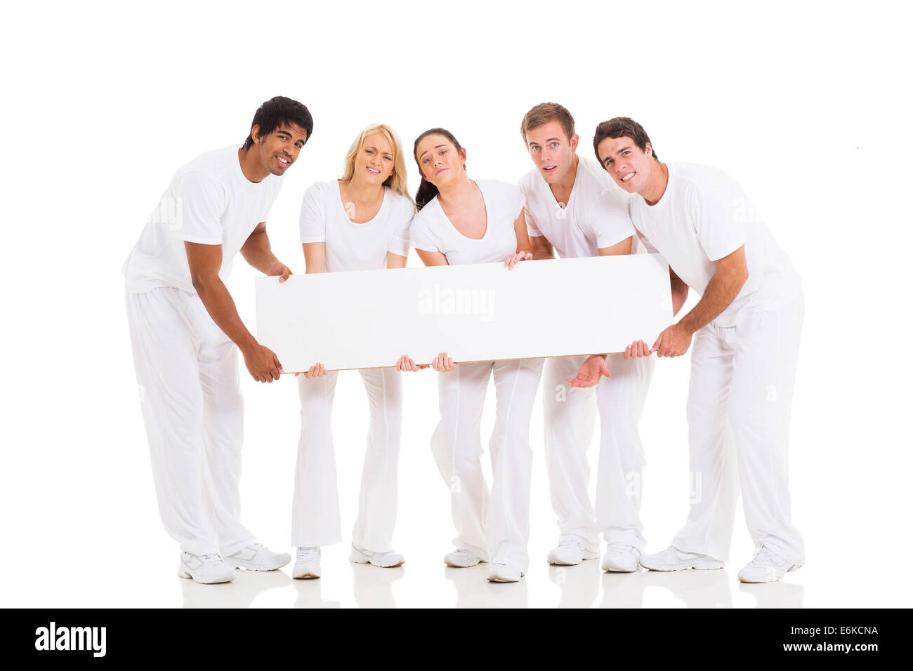 group of people holding heavy billboard isolated on white - Stock Image