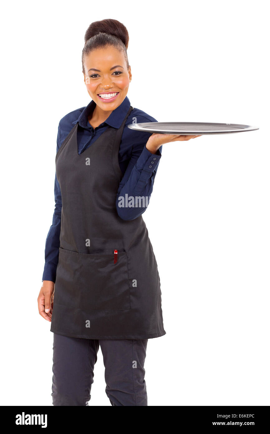 attractive young waitress with an empty tray - Stock Image