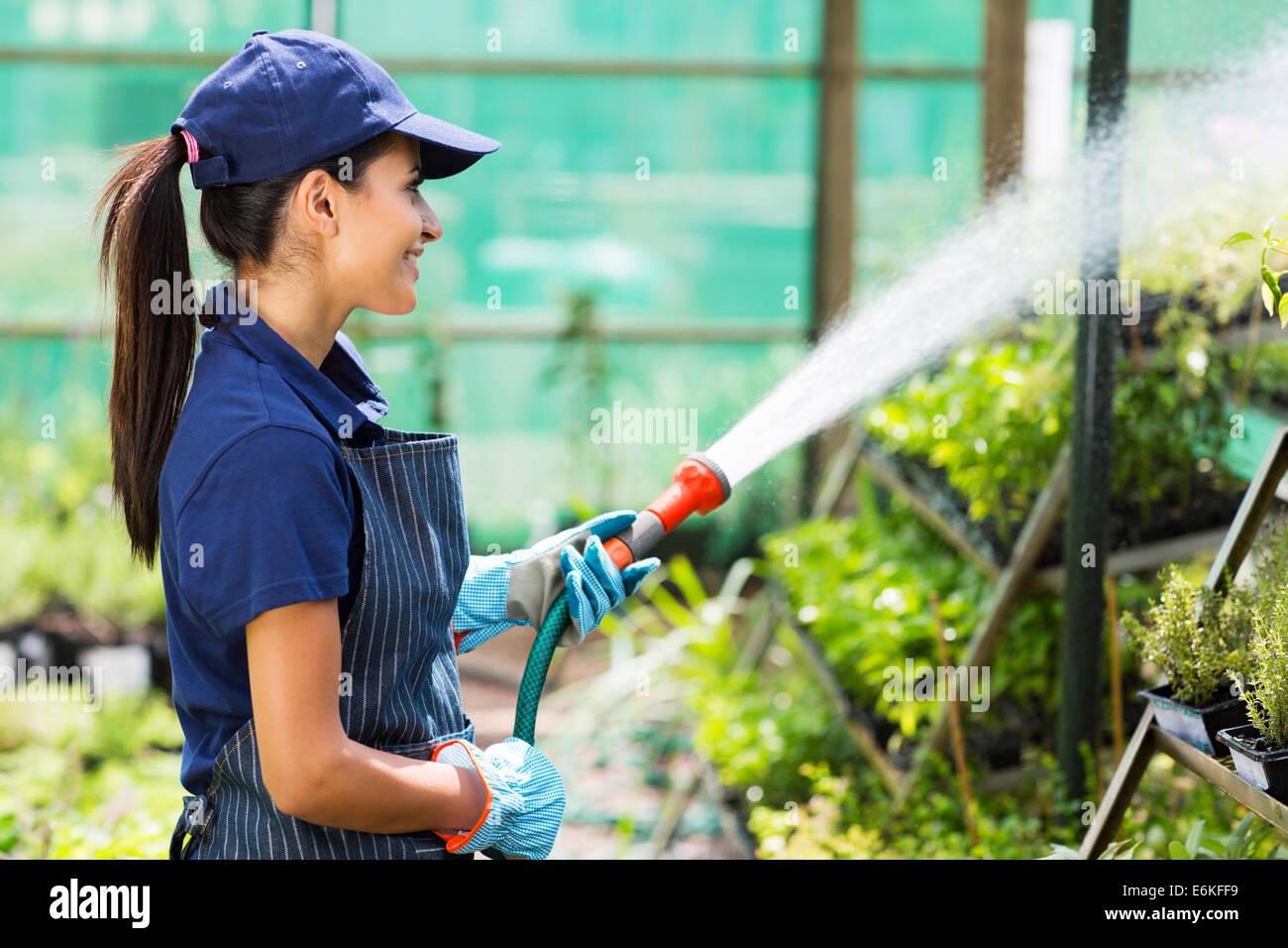 pretty female nursery worker watering plants in greenhouse Stock Photo
