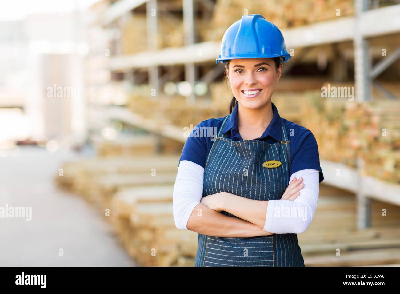 portrait of pretty female industrial worker Stock Photo