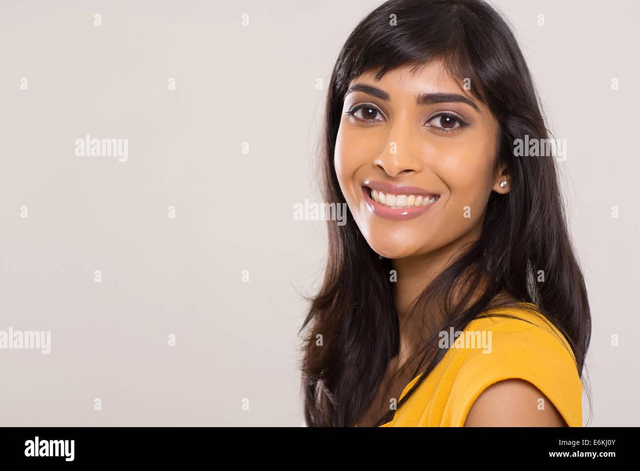 Indian woman beauty shot on plain background - Stock Image