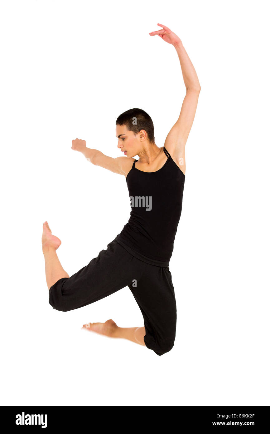 fit dancer jumping isolated on white background - Stock Image