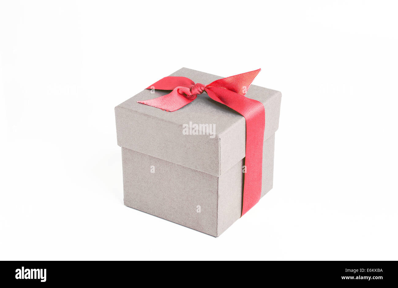 Gift box with red ribbon - Stock Image