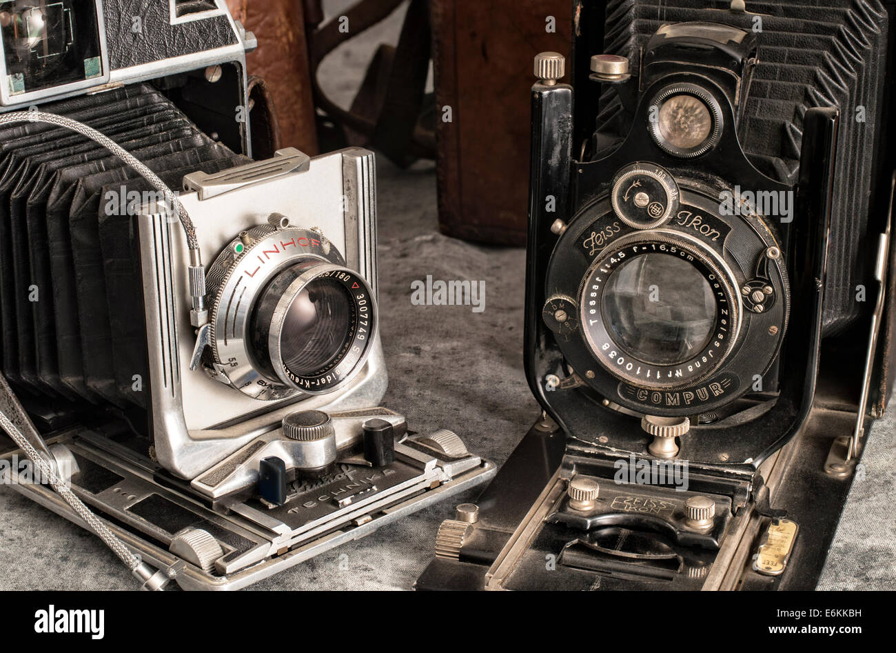 Old vintage professional sheet film cameras - Linhof and Zeiss Ikon - Stock Image
