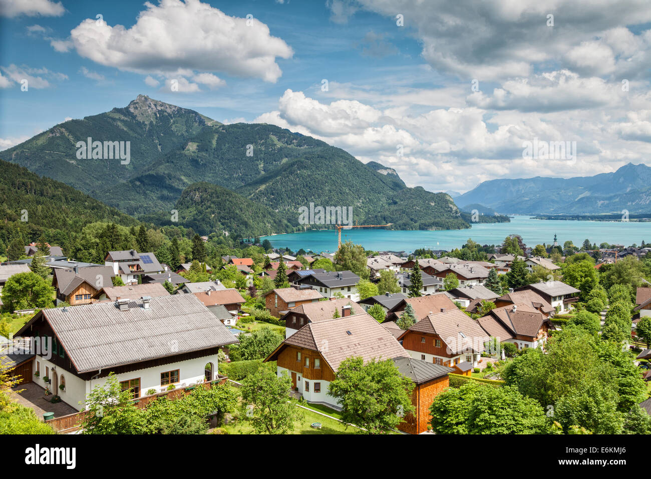 St Gilgen village at Wolfgangsee in Austrian Alps - Stock Image