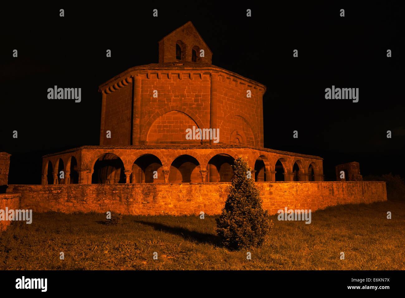 Santa María de Eunate, Romanesque church.  Eunate Church, Road to Santiago. Way of St. James, Muruzábal, - Stock Image