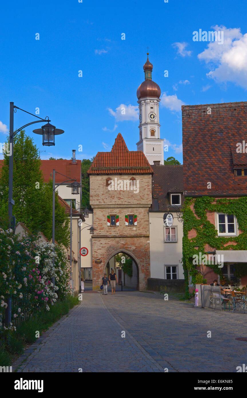 Landsberg am Lech, Bäckertor Gate, Romantic Road, Romantische Strasse, Bavaria, Germany, Europe. - Stock Image