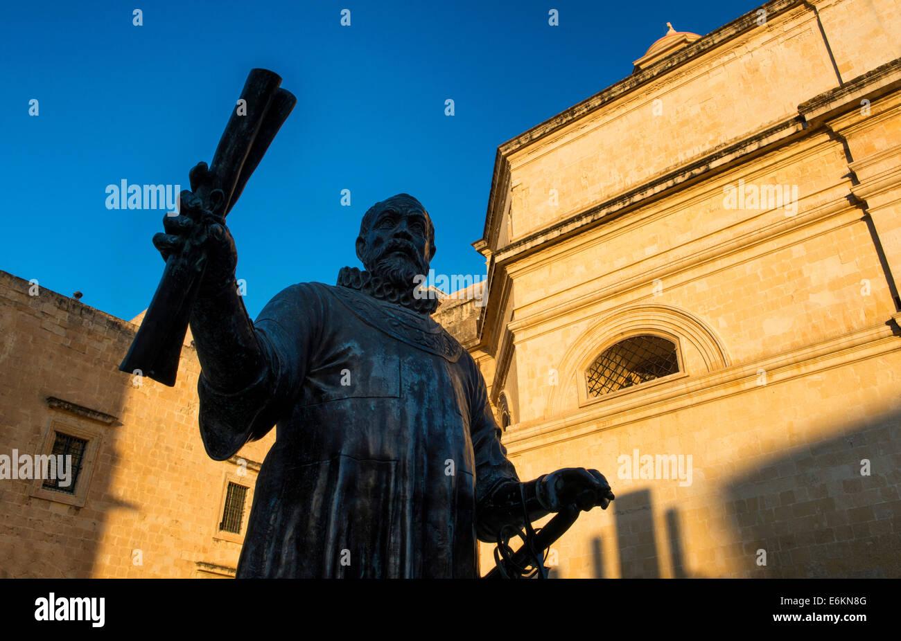 Jean Parisot De Valette Statue, Valletta, Malta - Stock Image
