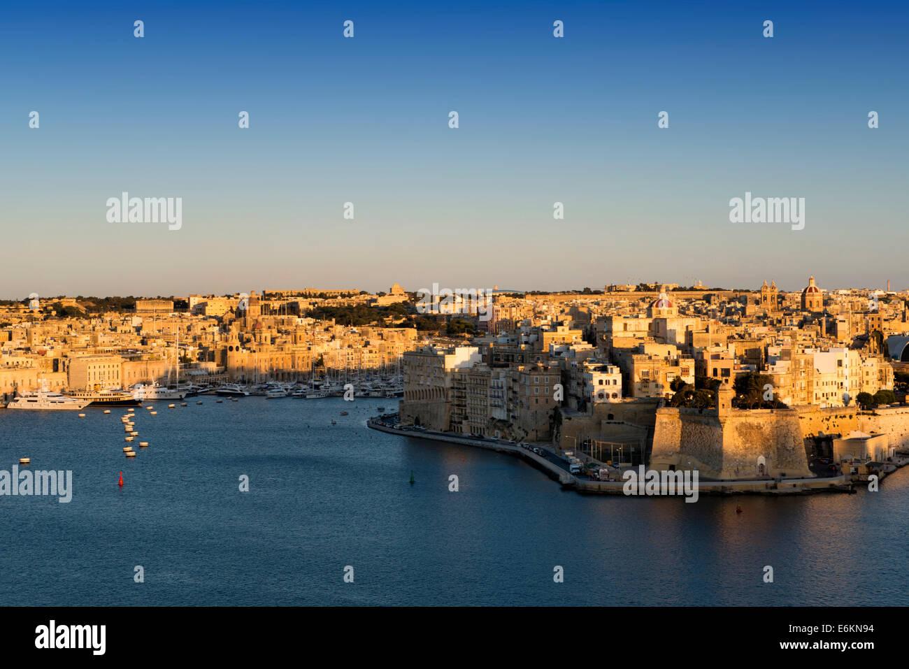 Three Cities from Valletta, Malta, - Stock Image