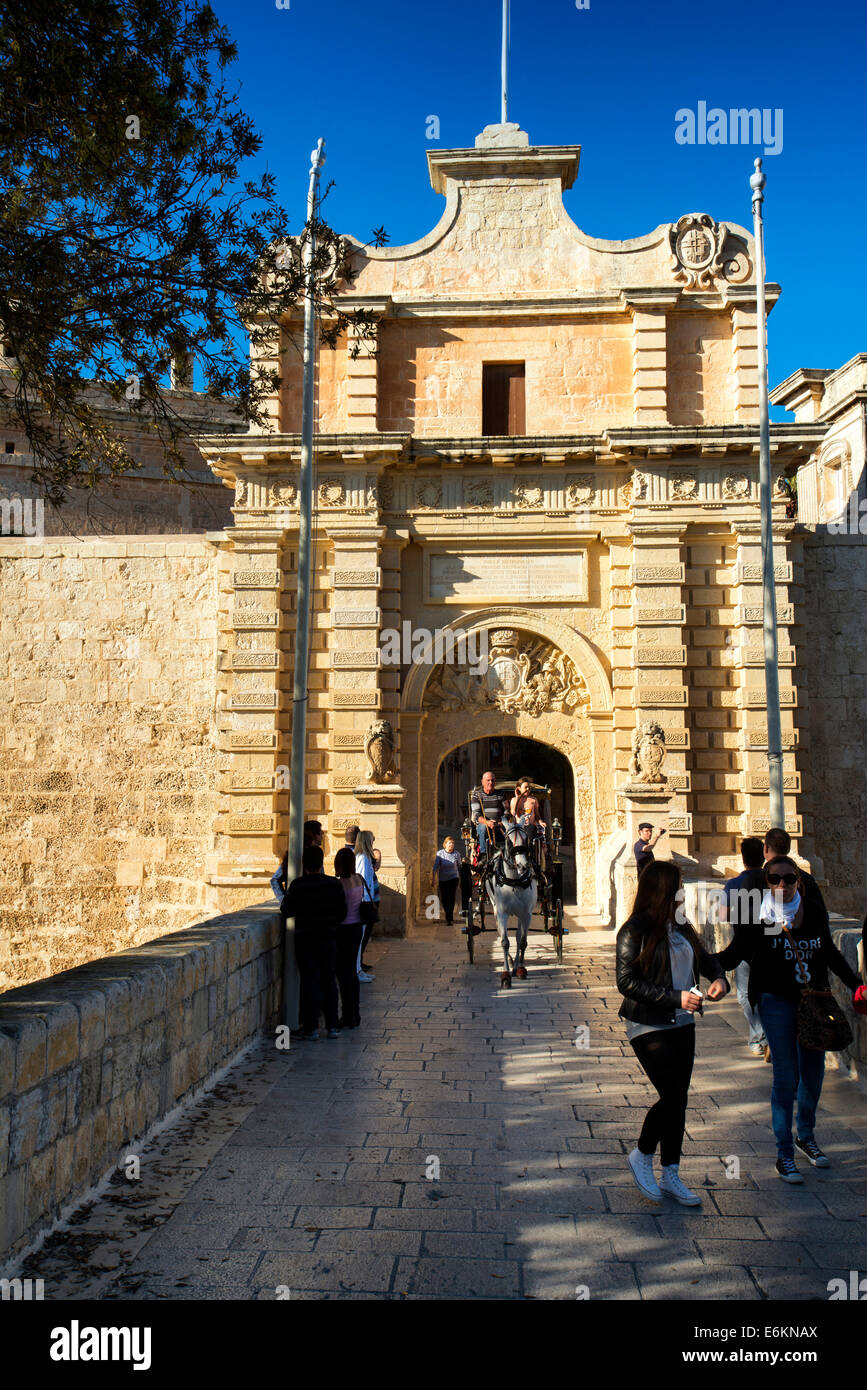 Horse and carriage at Main Gate, Mdina, Malta, - Stock Image