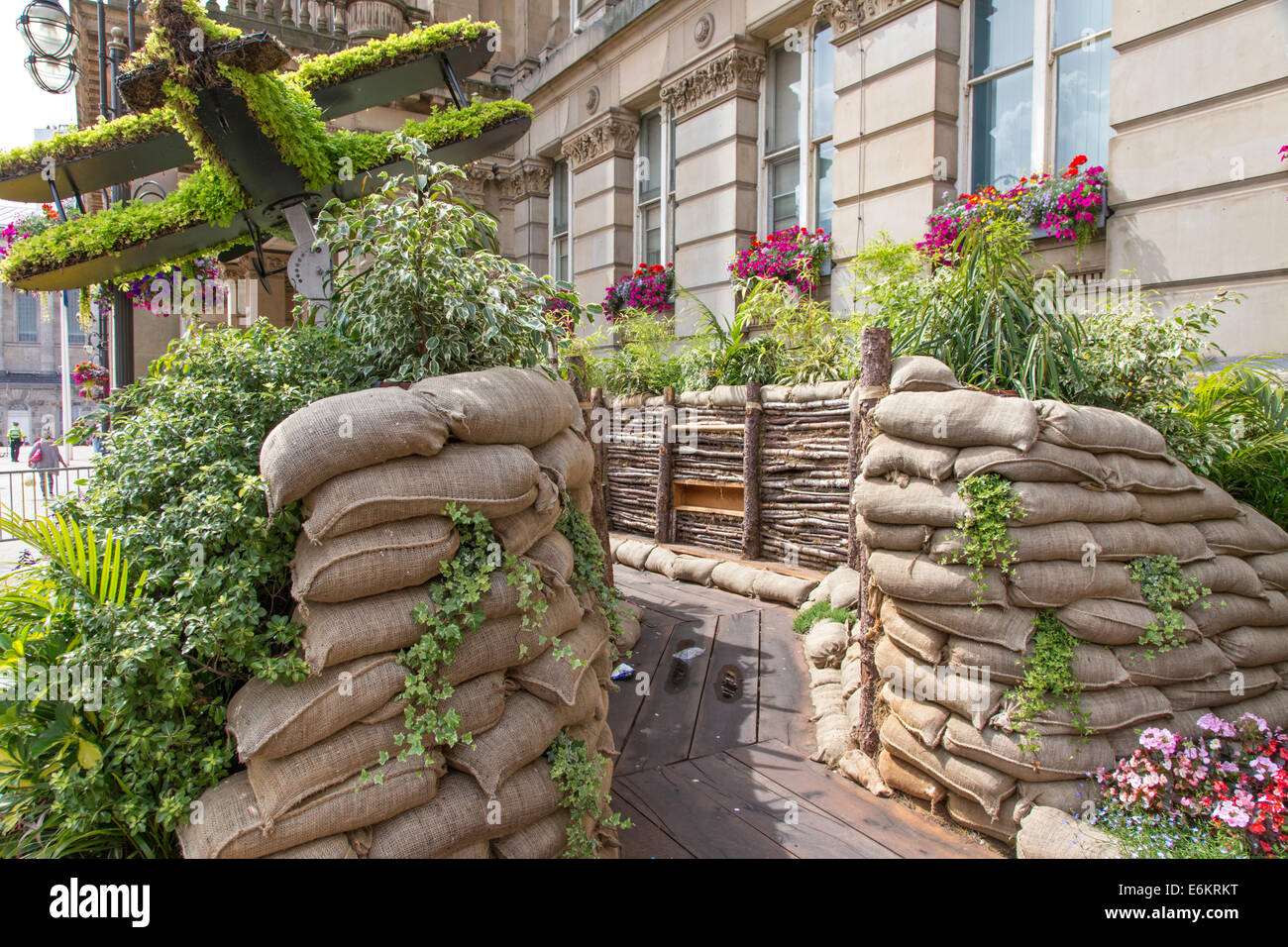 re-construction of a First World War trench, to mark the 100th anniversary, Birmingham, England, UK - Stock Image