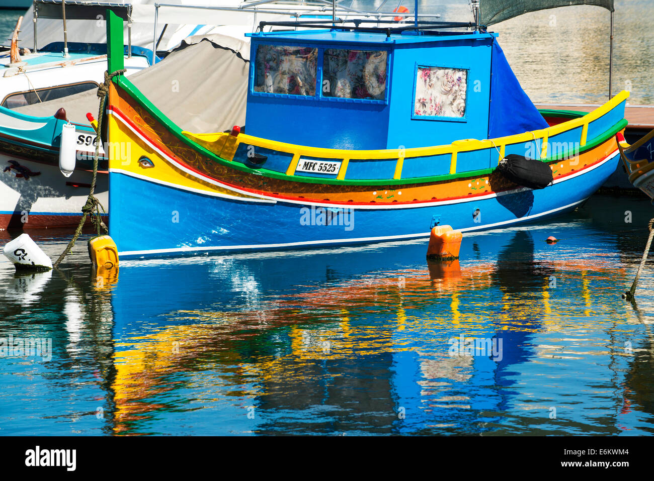 Eye of Osiris Luzzus Malta Msida Creek Valletta fishing boats Stock Photo