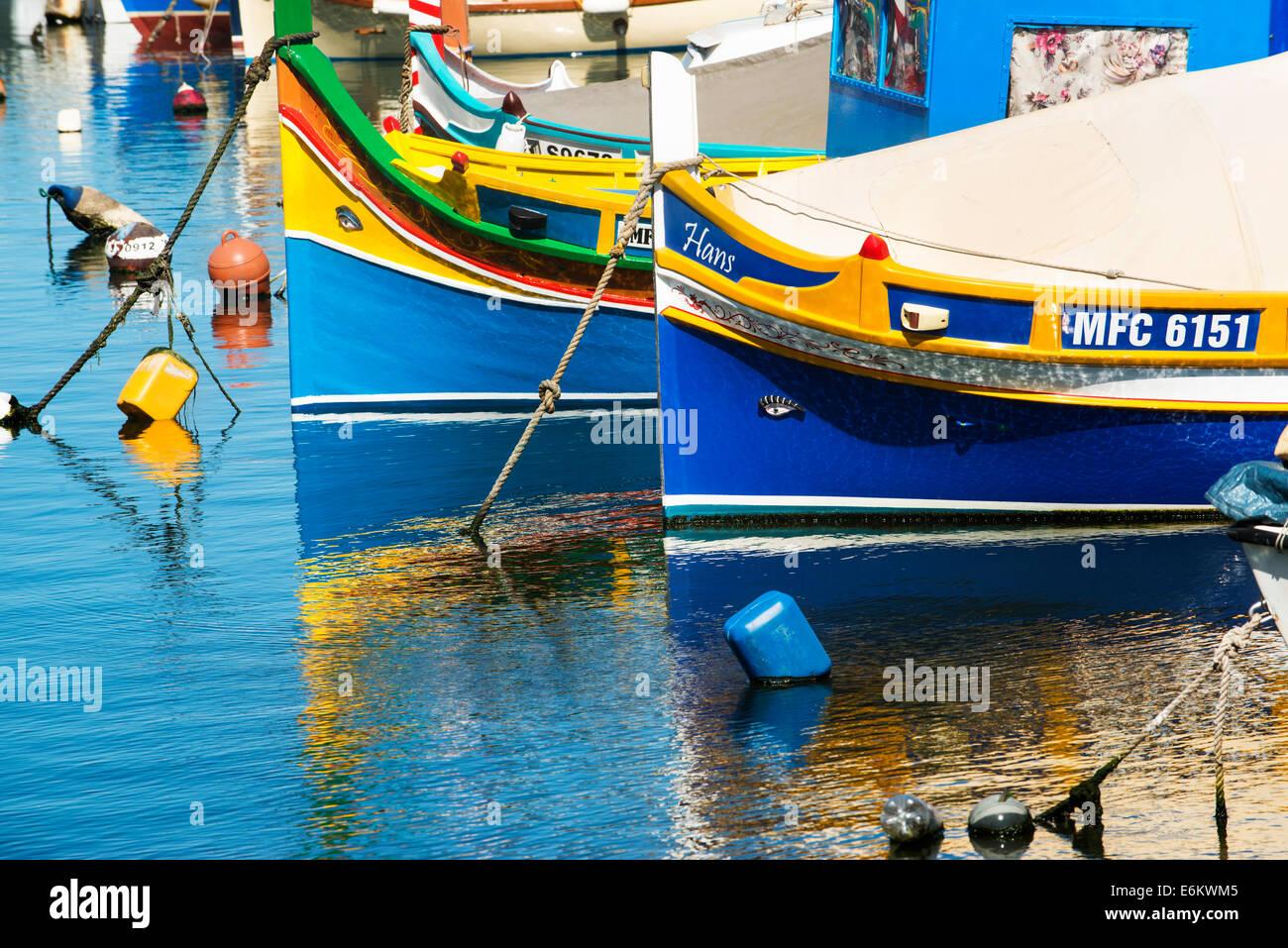 Eye of Osiris Luzzus Malta Msida Creek Valletta fishing boats - Stock Image