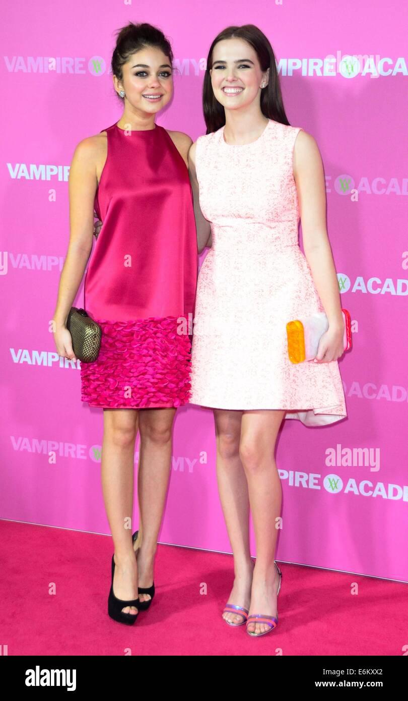 'Vampire Academy' Sydney premiere at Event Cinema - Arrivals  Featuring: Sarah Hyland,Zoey Deutch Where: Sydney, Australia When: 20 Feb 2014 Stock Photo