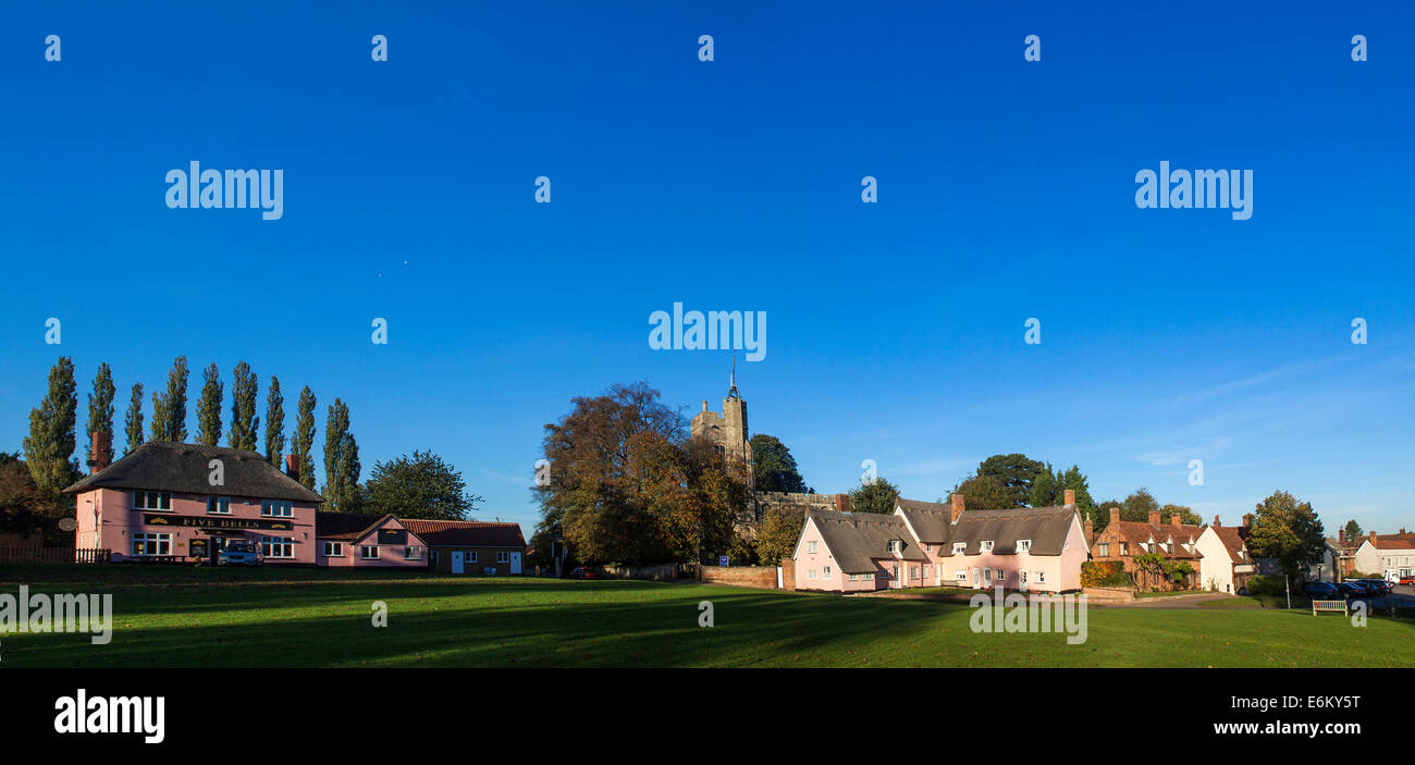 Blue sky as the sun is setting over Cavendish in Suffolk, England - Stock Image