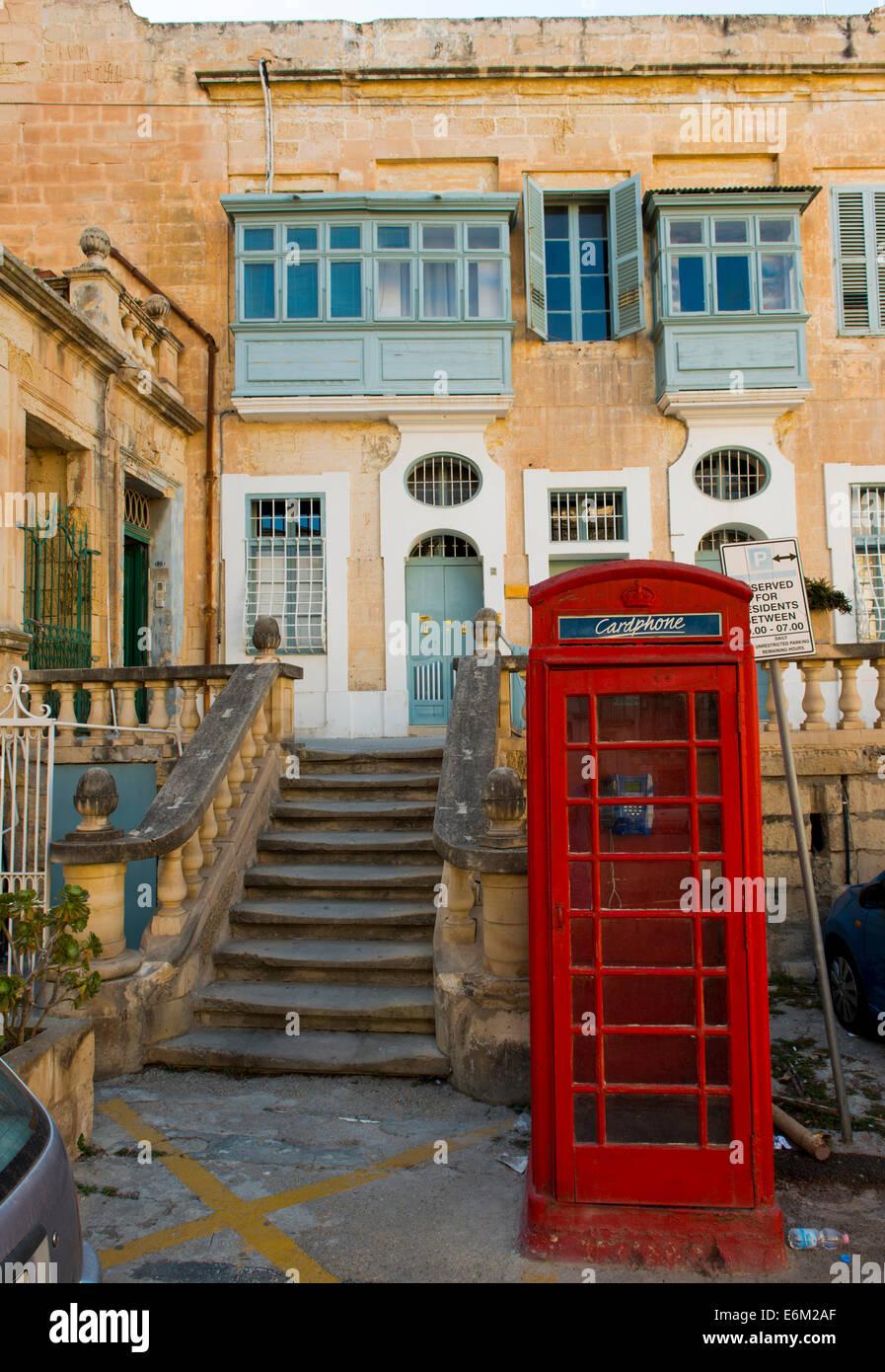 British; UK; Telephone Box; Valletta; Malta - Stock Image