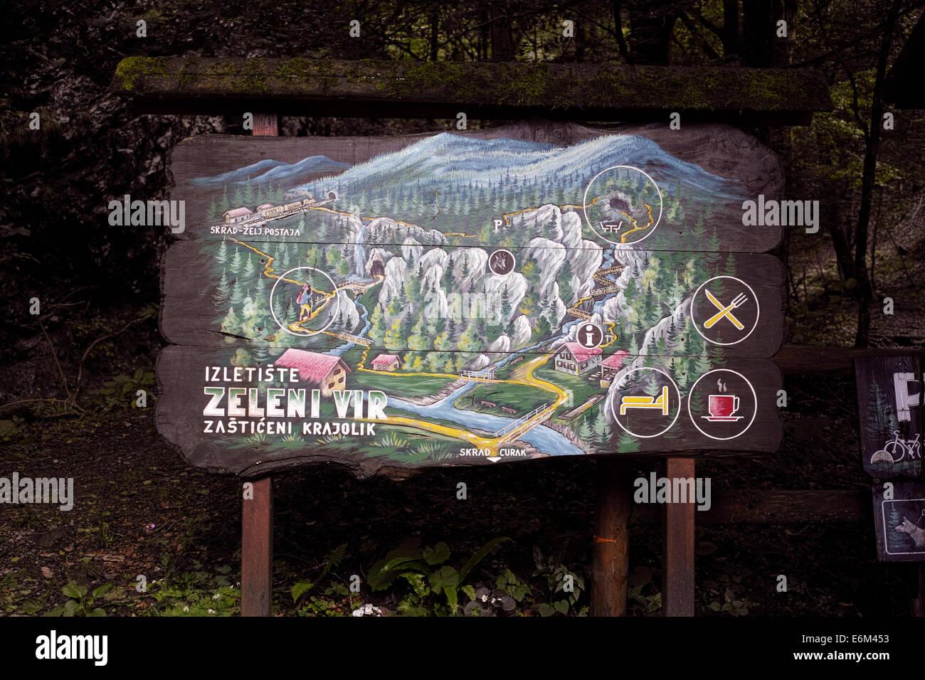 Zeleni Vir - Touristic place deep in the mountains of Gorski Kotar, Croatia, Europe. Natural wonder. - Stock Image