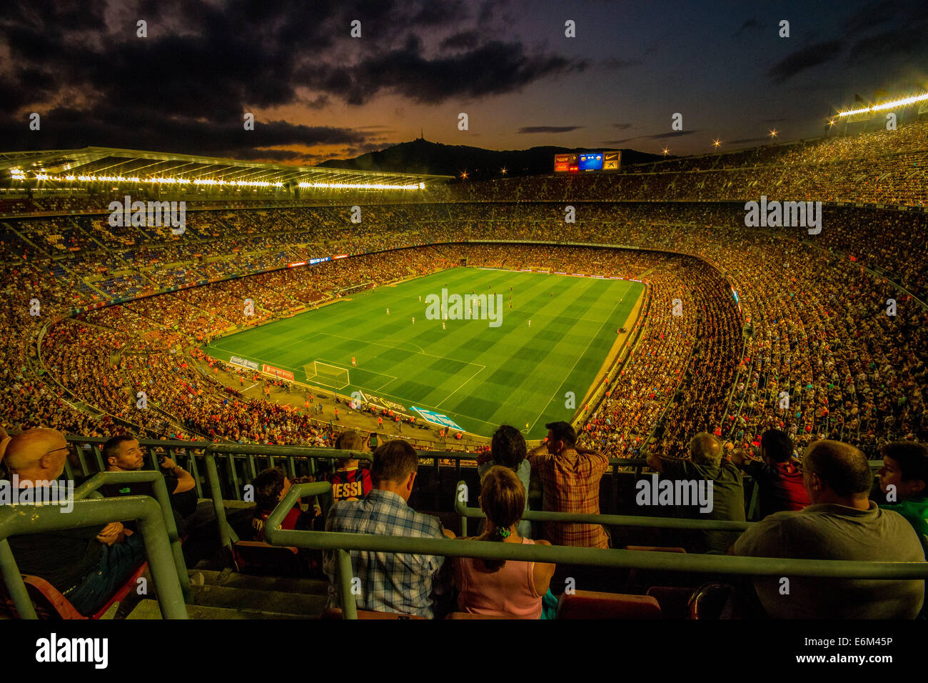 View of the Camp Nou on matchday for Barcelona v Elche 24/08/2014 in which the game finished Barcelona 3 - 0 Elche Stock Photo
