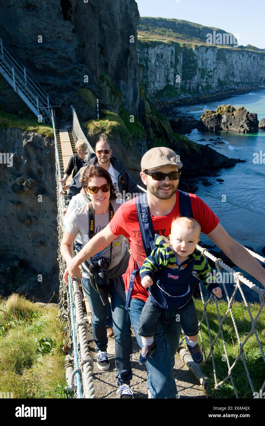 Carrick-a-rede Rope Bridge, North Coast, Northern Ireland Stock Photo