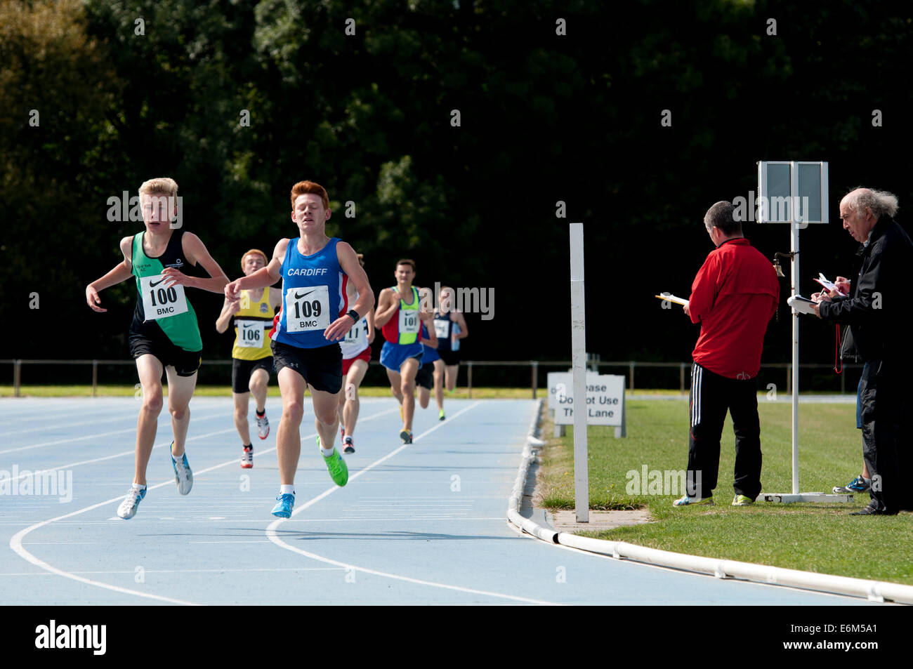 Runners at finish of a middle-distance race, Coventry, UK - Stock Image