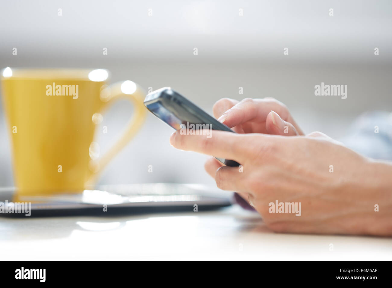 Hands of woman sending SMS via smartphone at lunch - Stock Image