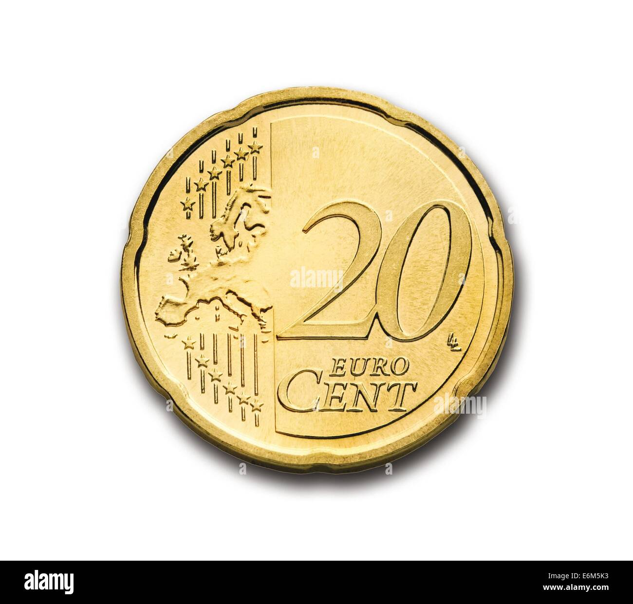 cent 20 euro coin currency europe money wealth - Stock Image
