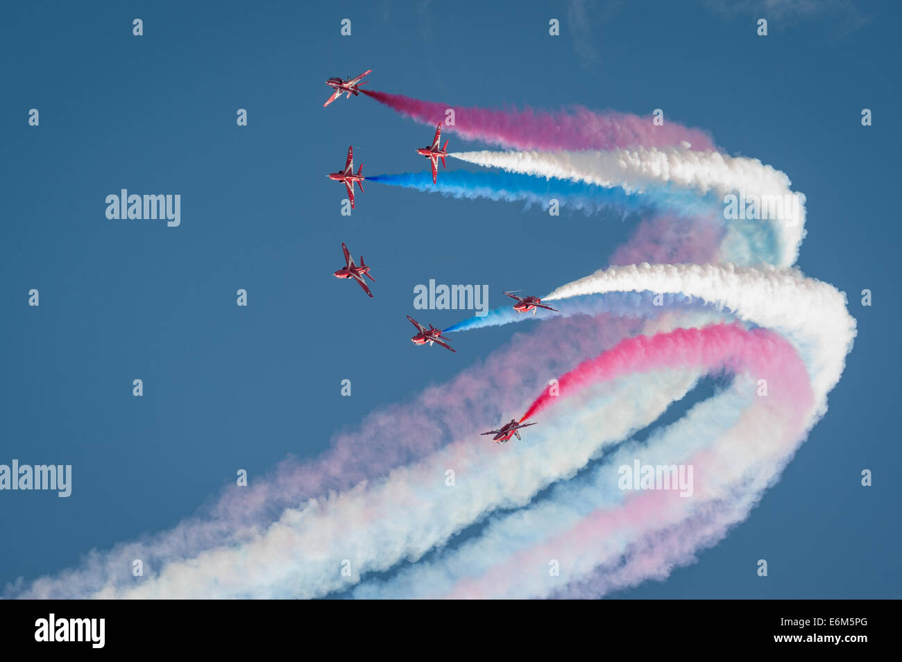 The Royal Air Force display team the Red Arrows, Dawlish Air Show Aug 23, 2014. - Stock Image