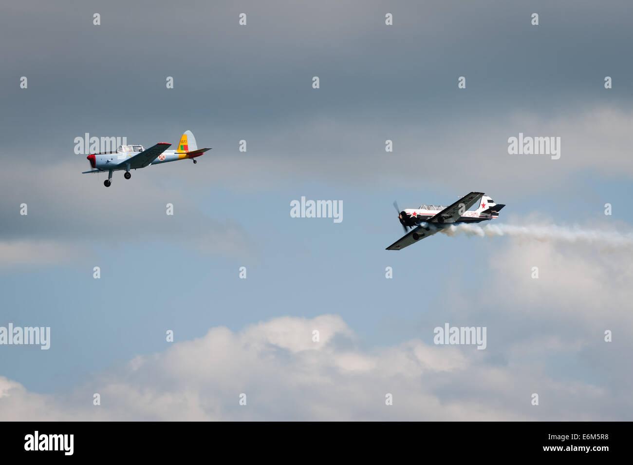 De Havilland Canada DHC-1 Chipmunk and T6 Texan, Dawlish Air Show Aug 23, 2014. - Stock Image