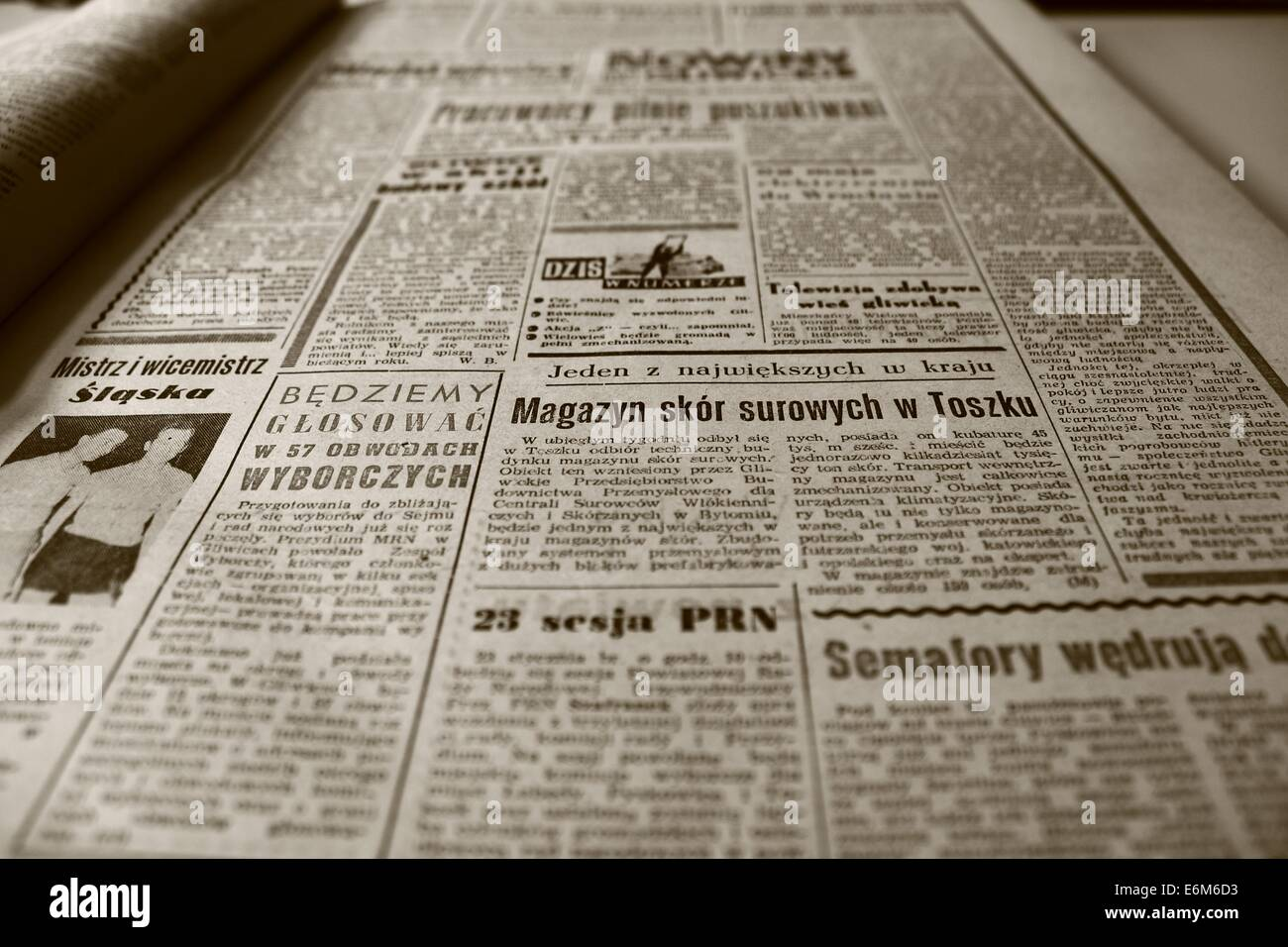 old newspaper newspaper the 1960s retro sepia old - Stock Image