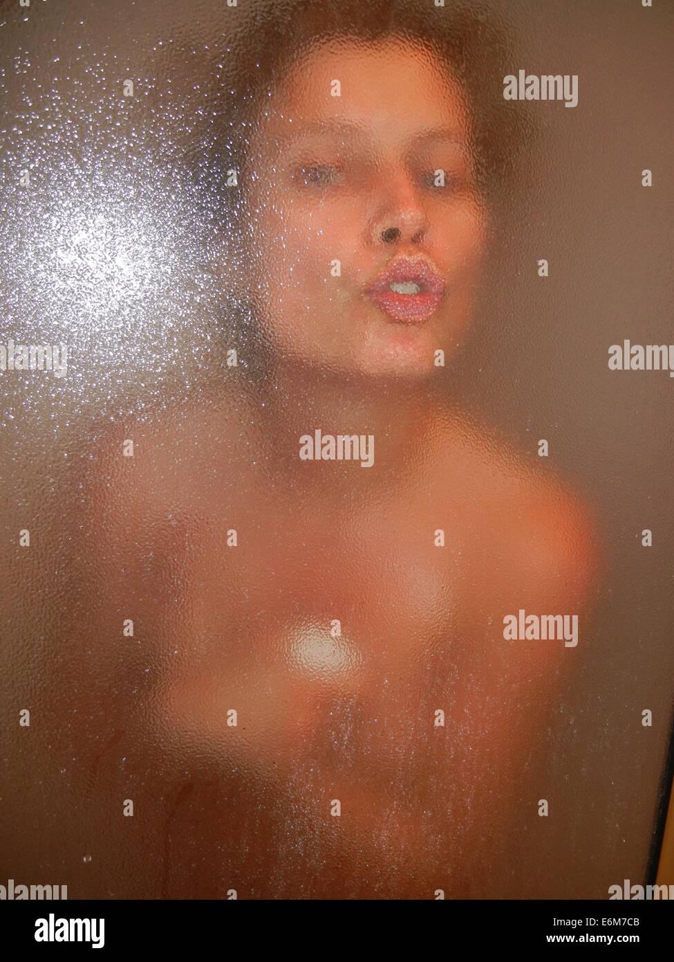 Woman Shower Kiss Erotic Girl Lips Hot Sexy Stock Photo 72974283