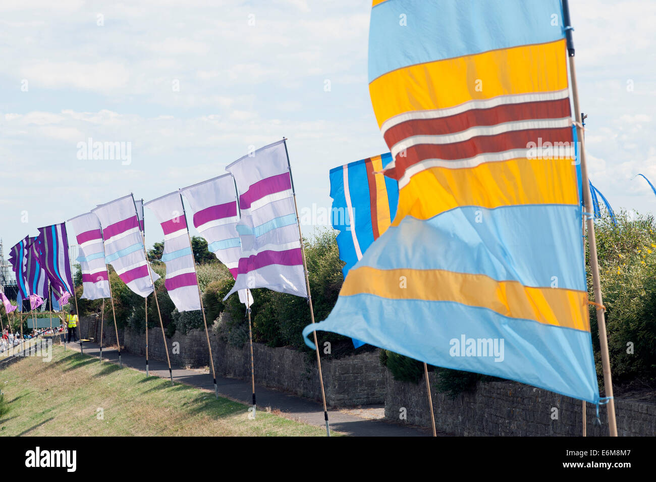 flags fluttering in the breeze at the victorious festival 2014 southsea england uk Stock Photo