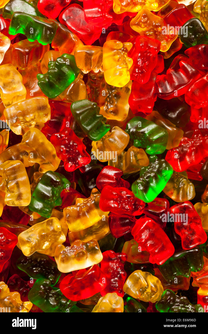 Colorful Fruity Gummy Bears Ready to Eat Stock Photo