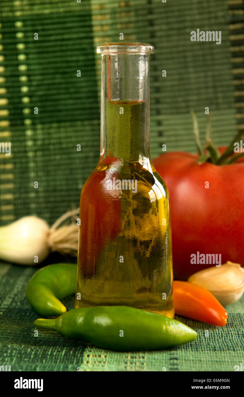 Traditional Bulgarian small bottle for grappa - Stock Image