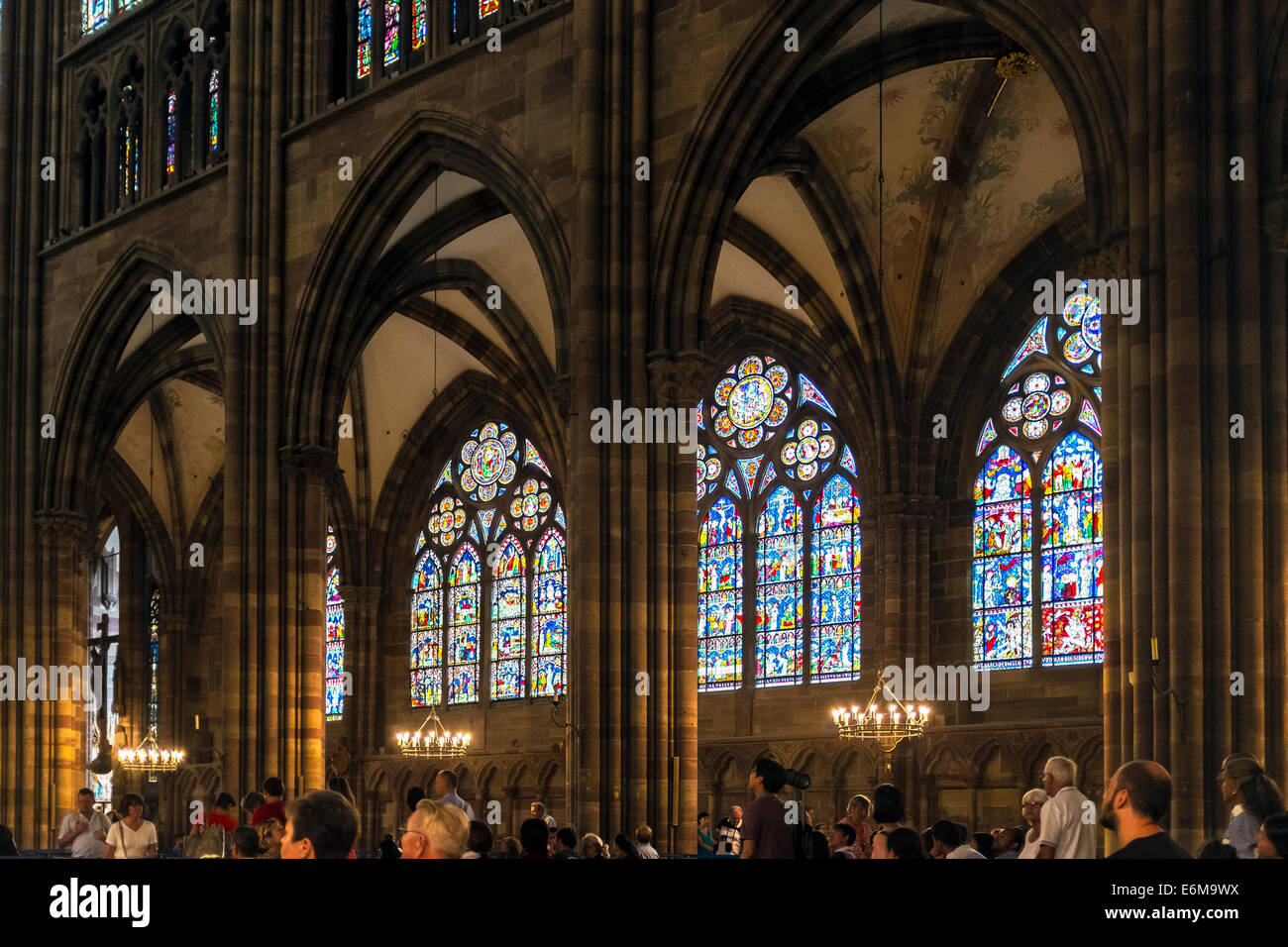 Stained Glass Windows Notre Dame Gothic Cathedral 14th Century Strasbourg Alsace France