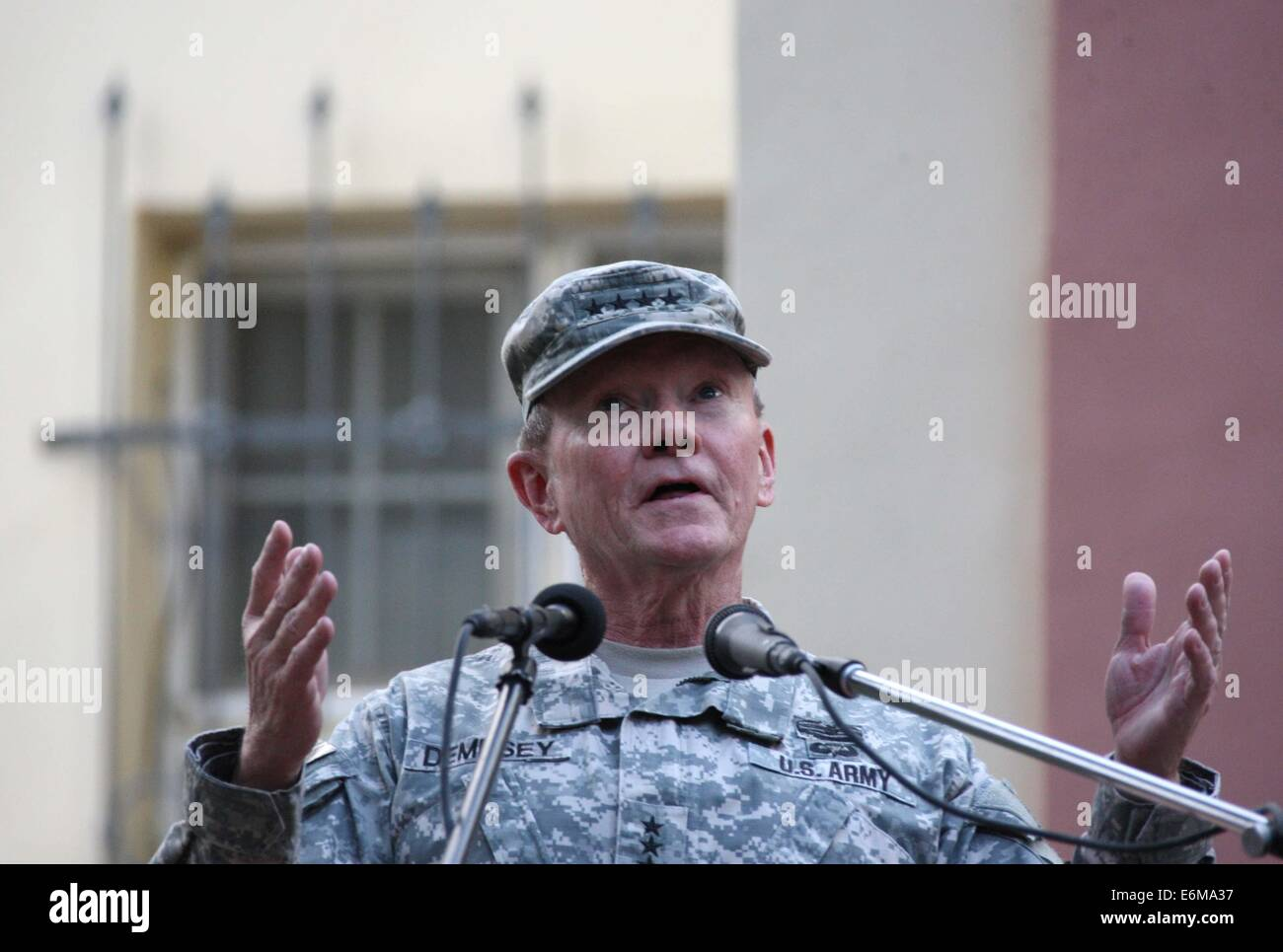 Kabul, Afghanistan. 26th Aug, 2014. U.S. Chairman of the Joint Chiefs of Staff General Martin Dempsey speaks during Stock Photo