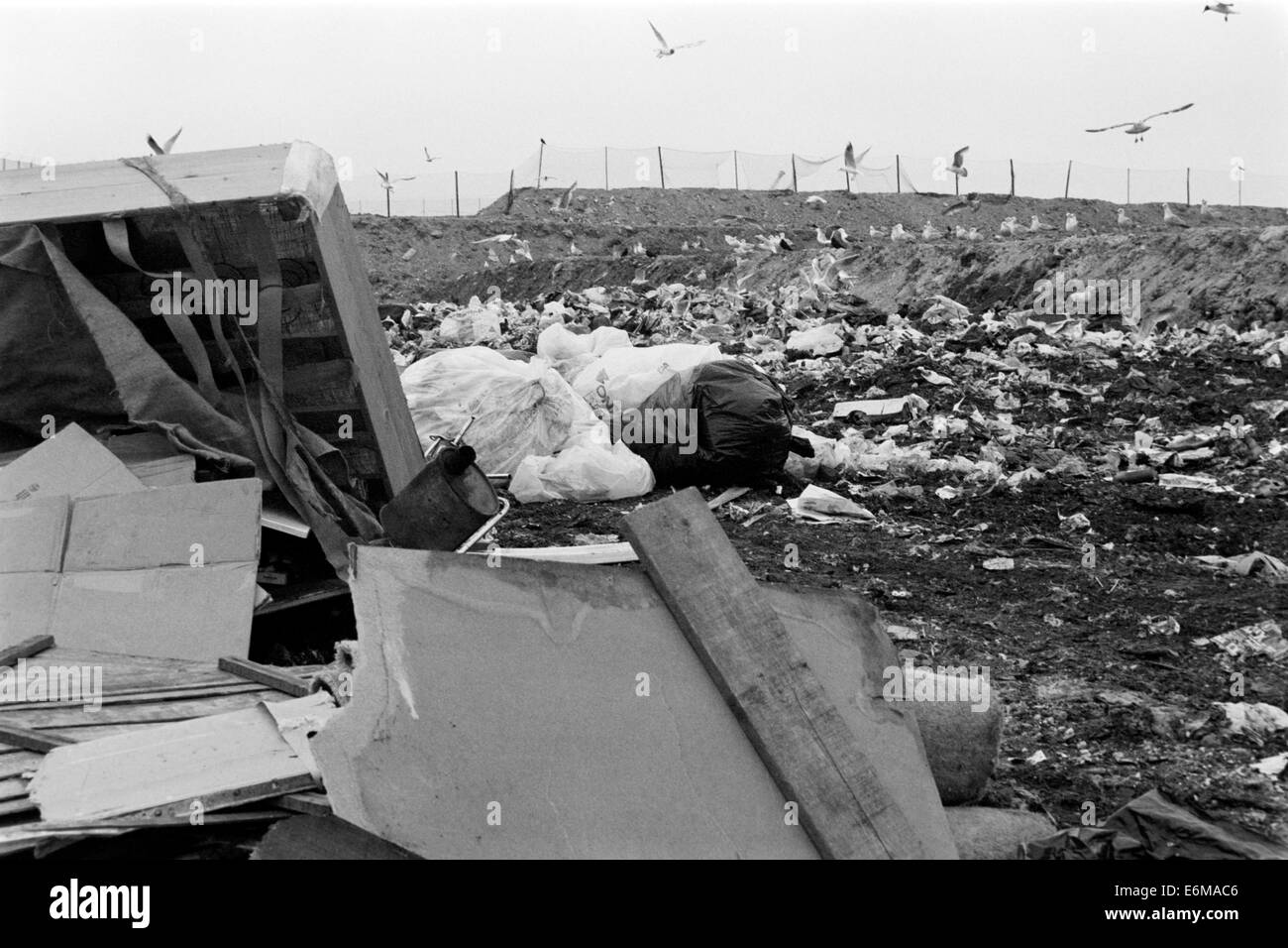 mounds of garbage at a landfill site in the 1990s which is now buried beneath port solent portsmouth england uk - Stock Image