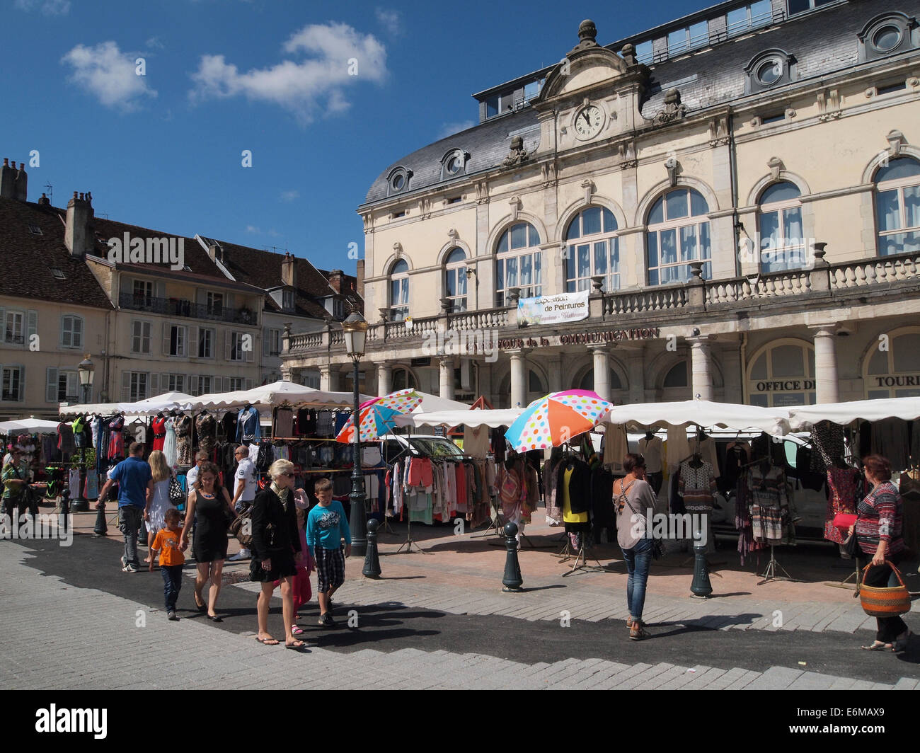 Market in Lons le Saunier, Jura, France - Stock Image