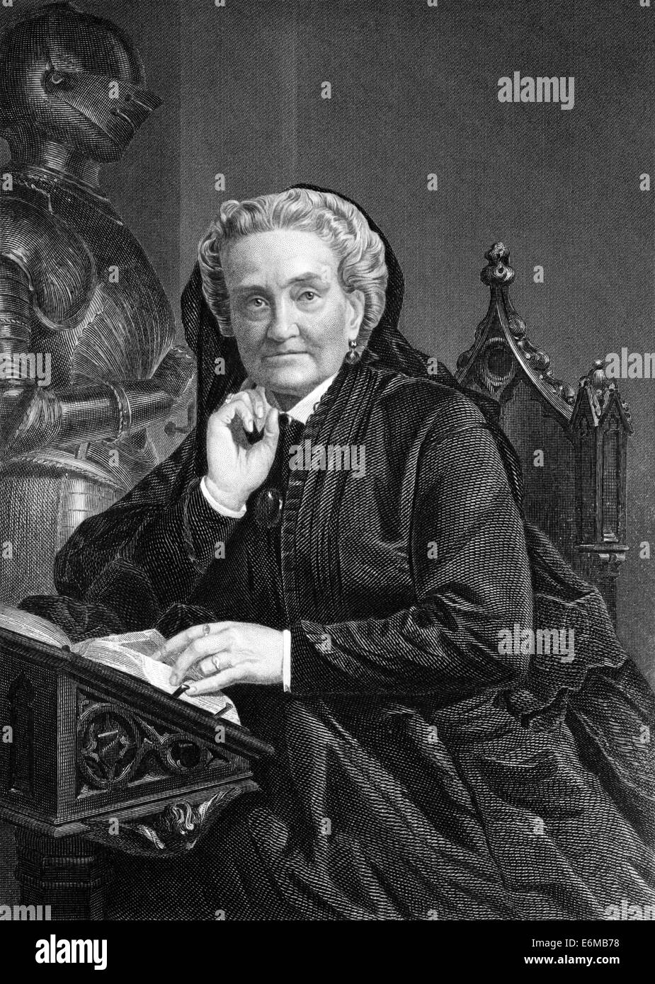 Charlotte Saunders Cushman (1816-1876) on engraving from 1873. American stage actress. Stock Photo