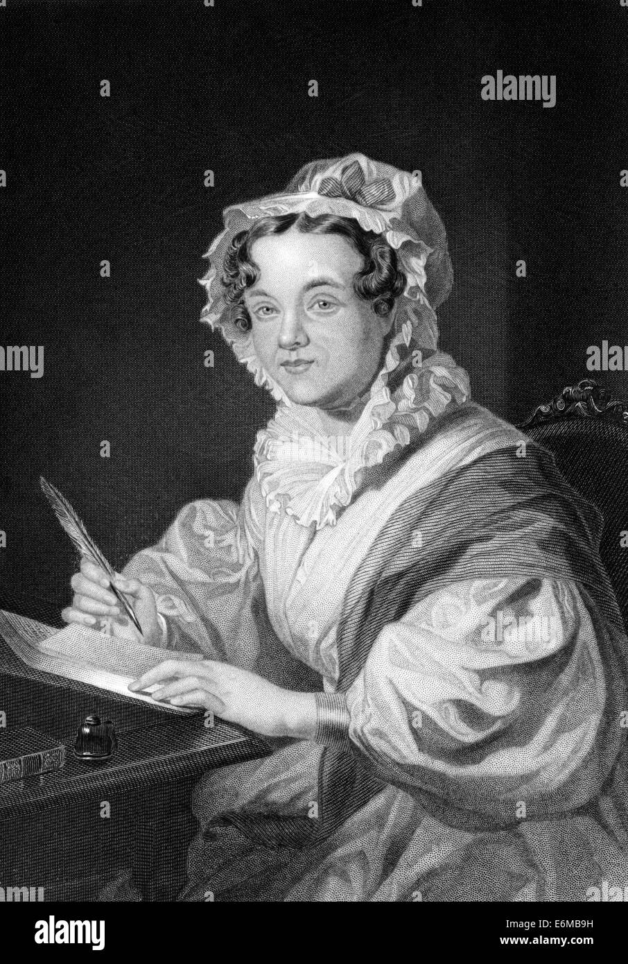 Mary Russell Mitford (1787-1855) on engraving from 1873. English author and dramatist. - Stock Image