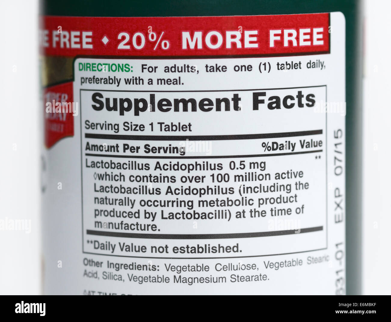 Supplement facts label on a probiotics bottle Stock Photo