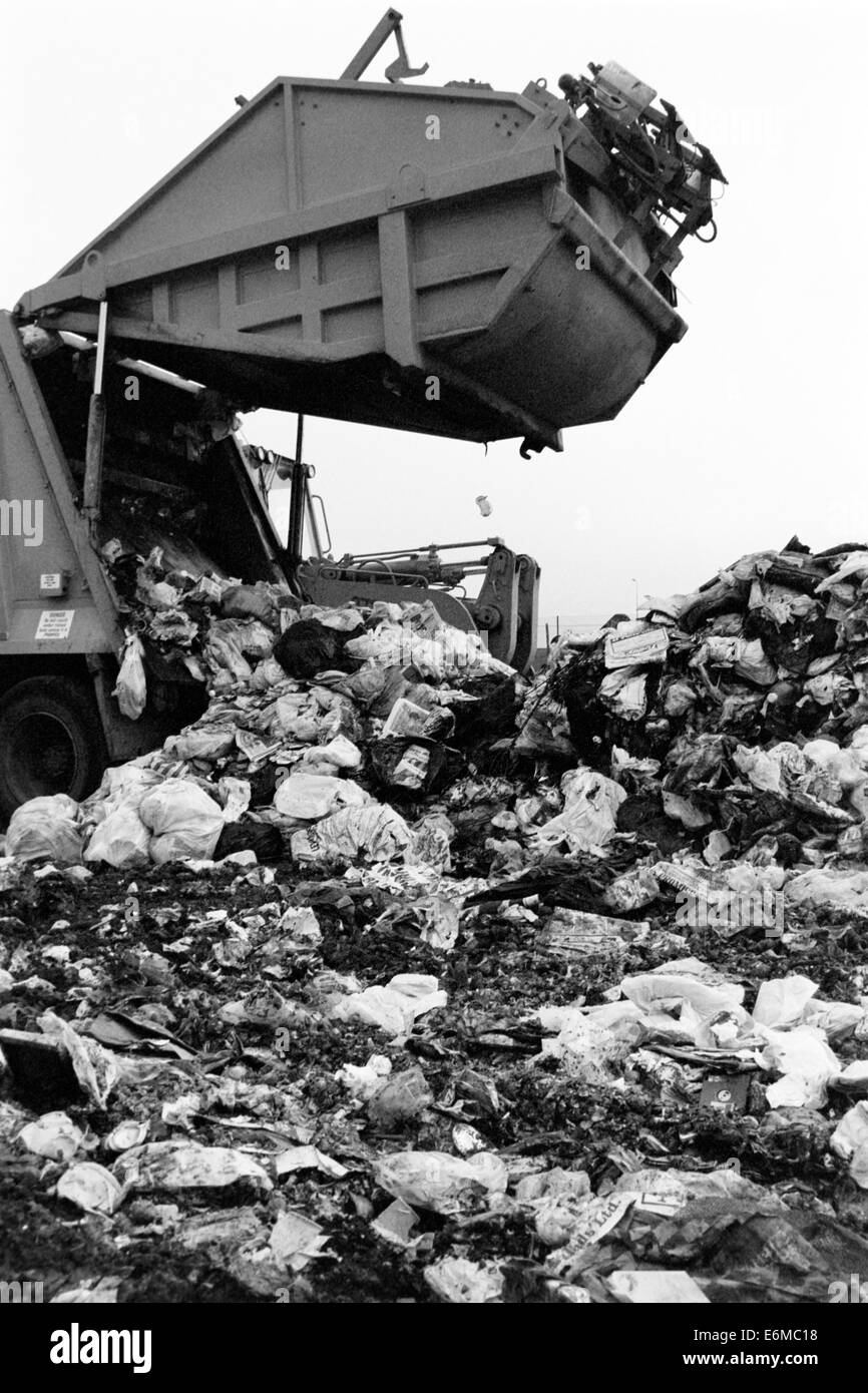mounds of garbage at a landfill site in the 1990s which is now buried beneath port solent portsmouth england uk Stock Photo