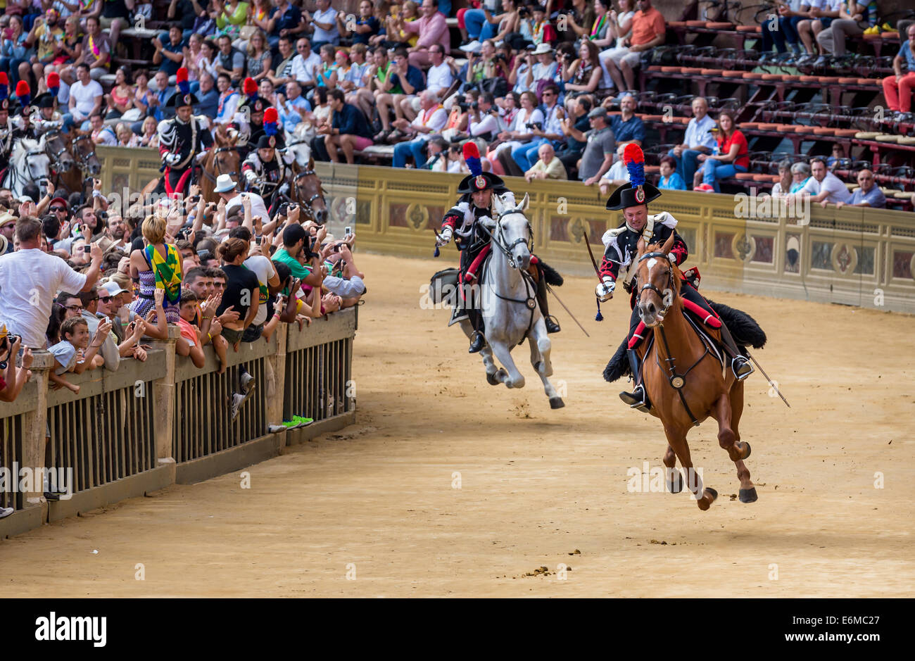 Cavalry charge by the carabinieri, Palio di Siena, historical parade, Siena, Tuscany, Italy - Stock Image