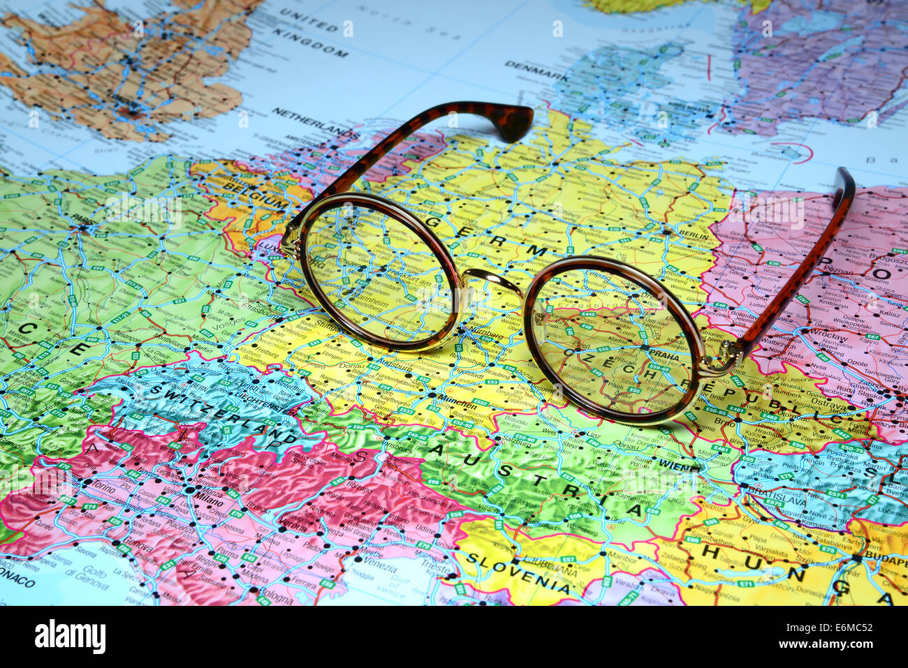 Glasses On A Map Of Europe Prague Stock Photo 72977998 Alamy