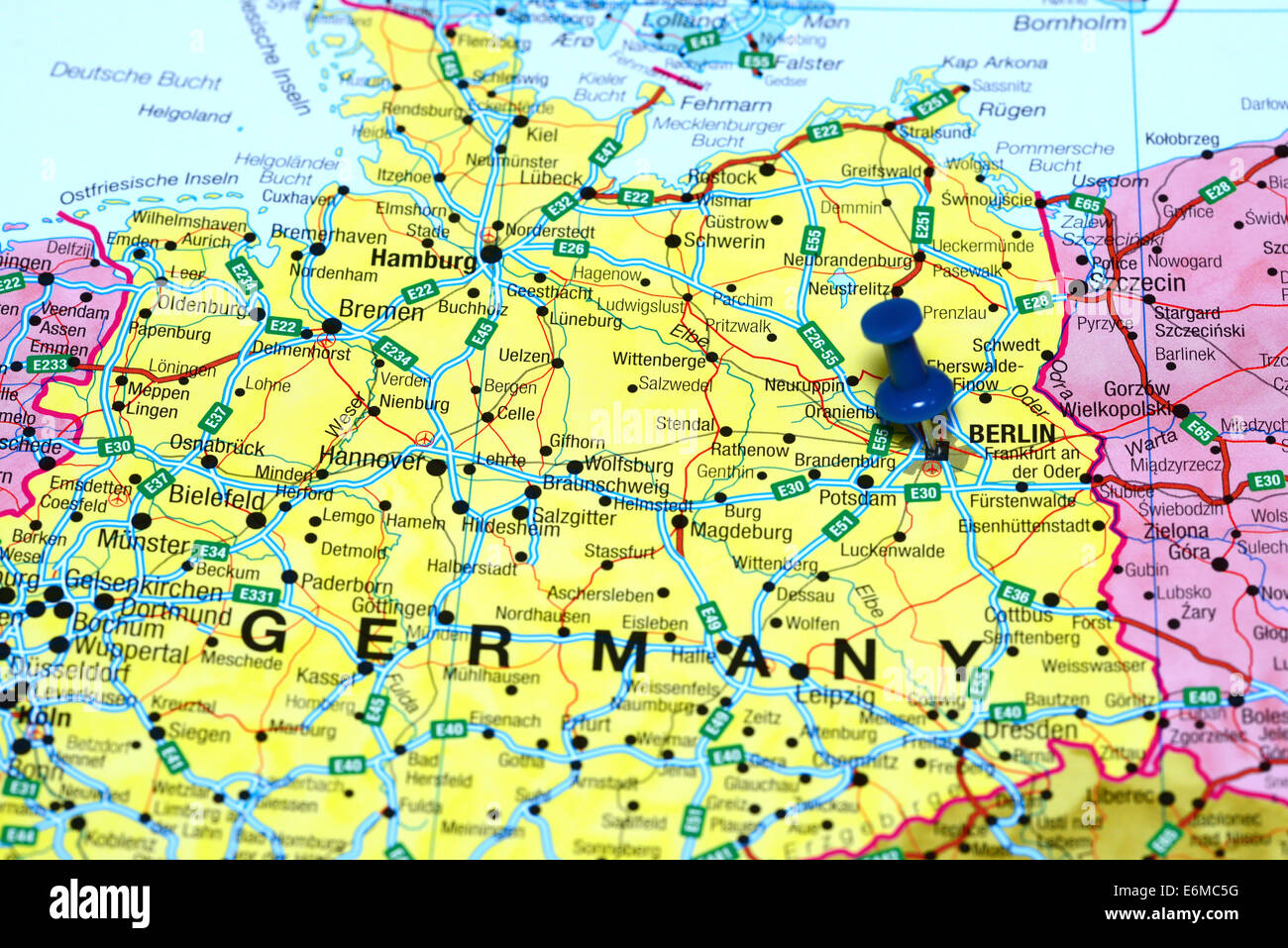 Berlin pinned on a map of europe Stock Photo: 72978012   Alamy