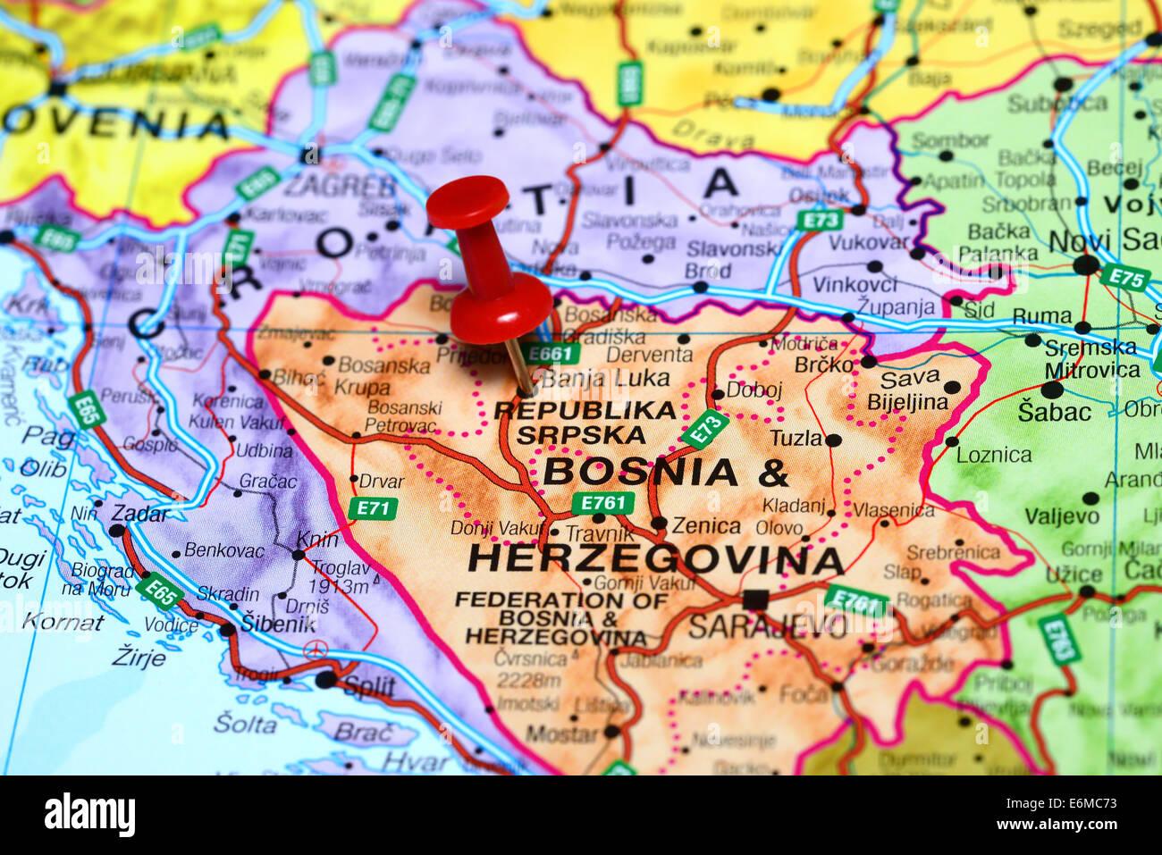 Banja Luka Pinned On A Map Of Europe Stock Photo 72978055 Alamy